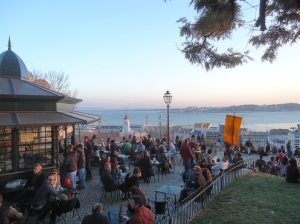 Seaside cafe in Lisbon