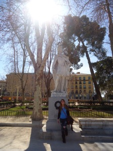 In Madrid, in front of the palace with a state of King Pelayo of Asturias, Spain.
