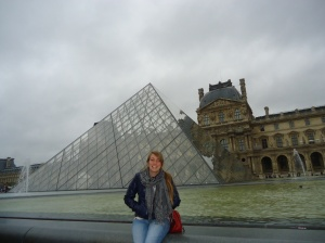 In front of the Louvre in Paris, France
