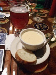 My Bridgeport Stumptown Tart and Beer-Cheese soup, both delicious!