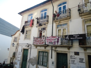 Signs of protest in Coimbra, Portugal