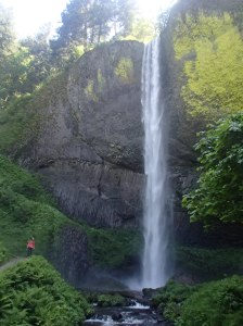 To show you how big these falls really are, that little pink dot in the lower left corner is me!!