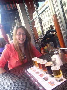 Beer tasting at Rock Bottom Brewery, such an Oregonian thing to do.