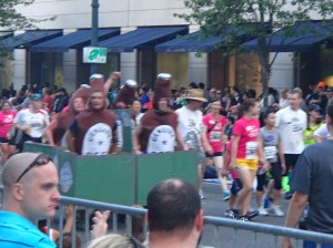 The guys dressed as beer running the 5k