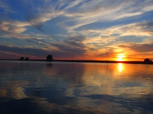 Awe-inspiring sunset on Lake St. Clair, Michigan