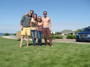 Enjoying the sun and good friends over-looking Lake Michigan.