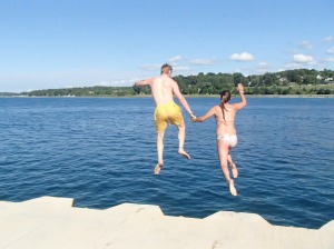 A day in Petoskey is not complete without a jump of the peer into the lovely Lake Michigan!