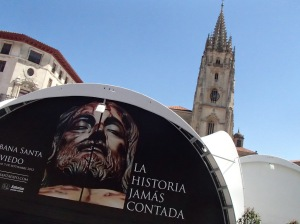 Now in Oviedo, there is an exhibit containing Shroud of Turin, a cloth believed by some to be the burial cloth of Jesus.