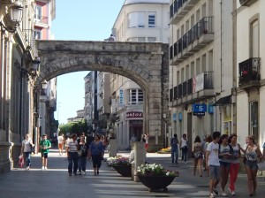 Ancient Roman walls still surround the city of Lugo today. This is one of the entrances into the city center.