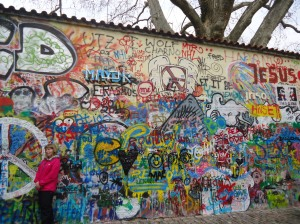Prague, Czech Republic -- The John Lennon Wall is an attraction for many, a stunning graffiti wall turned art.