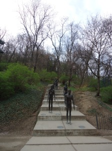 "A sculpture on the walk to the top of Petrin Hill is ""a memorial dedicated to all the victims, not only those who were jailed or executed but also those whose lives were ruined by toleration despotism."""