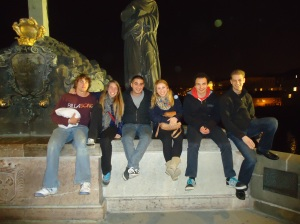 Last night in Prague on St. Charles Bridge with some new found friends from Germany and Australia.
