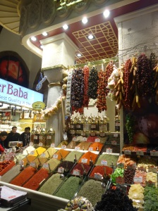 The spice bazaar in Istanbul, Turkey is a colorful and aromatic experience full of lively vendors.