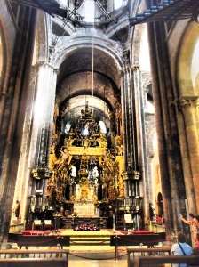 The interior of the Cathedral of Santiago. If you look closely, you may be able to see someone hugging the statue of St. James.