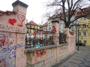 Love lock bridge in Prague, Czech Republic -- right next to the John Lennon Wall!