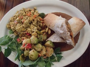 YUM! Filo dough wrap filled with squash and XX with a side of tofu scrambled with fresh veggies