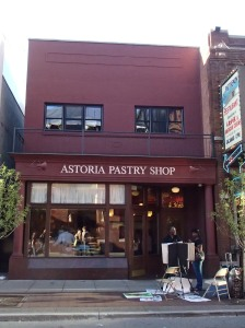 Street side view of the Astoria Pastry Shop