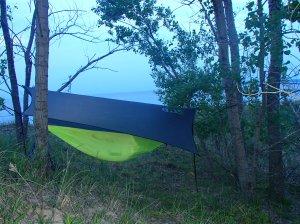 ENO set up with Rain fly over looking Lake Michigan and Sleeping Bear Dunes