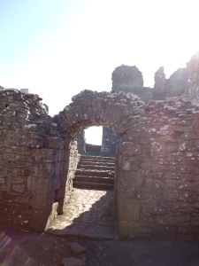 Strolling through castle ruins with the sun shinning