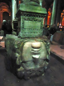 An upside down Medusa head remains in the cistern today