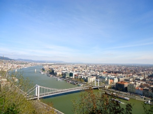 Overlooking Budapest and the Danube on a bright, sunny day