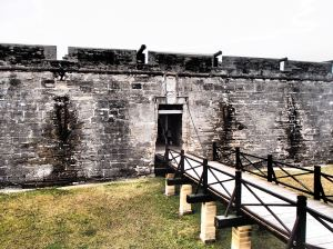 The fort bridge and gate, at one point there was a moat surrounding the fort for additional protection