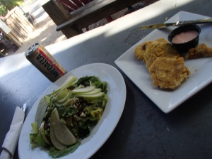 Bananas - The pear salad and tostones (plantains that are smashed and then fried)