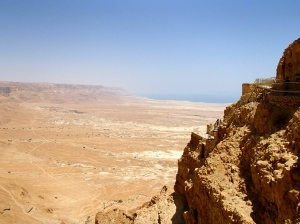 View of Harod's three tier palace over looking the Dead Sea