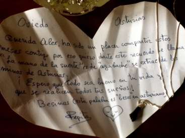"""El mano de suerte"" was given to me by my Spanish host mom with this note"